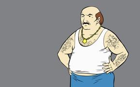 Picture grey background, Aqua Teen Hunger Force, Team Fast Food, ATHF, Carl Brutananadilewski, pot-bellied man, Carl …