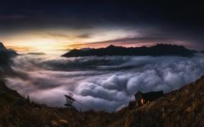 Picture fog, house, rocks, dawn, valley, dense
