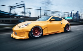 Picture nissan, tuning, speed, 370z, low, stance, moscow city