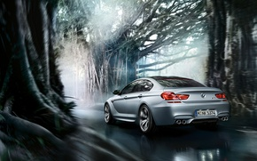 Picture BMW, Coupe, Gran Coupe, Tuning, Road, Motion, Trees, Forrest, MPower