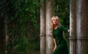 Picture greens, dress, columns, Elena, natural light