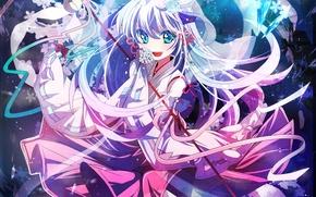 Picture girl, flowers, anime, art, crystals, when the cicadas cry, hanyuu, higurashi no naku koro ni, …