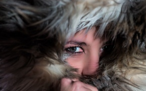 Picture cold, look, girl, brunette, fur