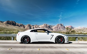 Picture white, mountains, tuning, Nissan, nissan gtr