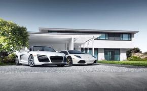 Picture Audi, Lamborghini, House, Sky, Grass, Sun, Murcielago, White, Supercars, Spider, Trees, LP640-4