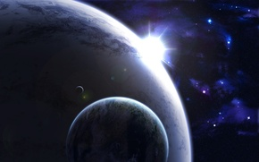 Picture light, Star, big, planets, small, Sci FI