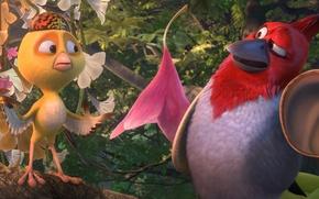 Picture cinema, flower, trees, hat, wings, feathers, birds, cartoon, movie, film, Rio de Janeiro, drawing, Nico, …