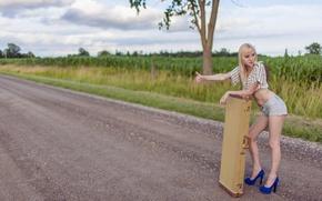 Picture road, blonde, Erotic
