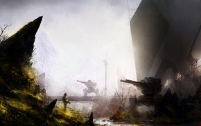 Picture Soldiers, Weapons, Art, Military, Sci-fi, Post