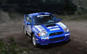 Picture Auto, Blue, Subaru, Impreza, Machine, Turn, Skid, wrx, WRC, Rally, Rally, The front