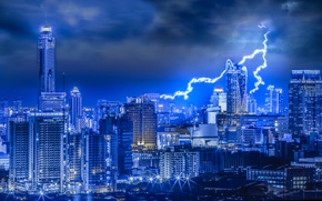 Picture the storm, the sky, night, clouds, lights, lightning, home, treatment, Thailand, Bangkok