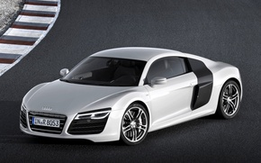 Picture background, Audi, Audi, silver, supercar, racing track, the front, V10, B10