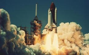 Picture fire, smoke, Shuttle, start, challenger