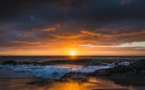 Picture beach, landscape, the ocean, dawn, CA