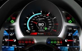 Picture speedometer, Koenigsegg, indicators, sensors, Agera, dashboard, the fuel gauge, temperature gauge oil, the oil-pressure indicator, …