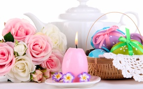 Wallpaper flowers, eggs, bouquet, basket, roses, Easter, eggs, candle