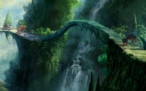 Picture Bridge, Figure, Waterfall, Trees