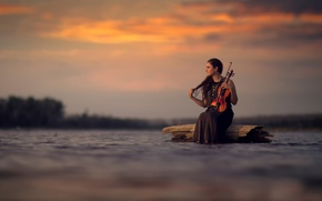 Picture water, girl, violin, Silence, bokeh