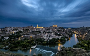 Picture Spain, home, lights, night, Toledo, the sky, river, clouds