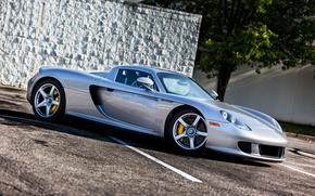 Picture wall, Porsche, silver, wall, Porsche, carrera