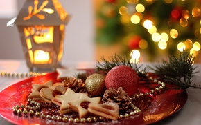 Wallpaper New Year, holidays, cakes, balls, bumps, cookies, plate, flashlight, Christmas, Christmas