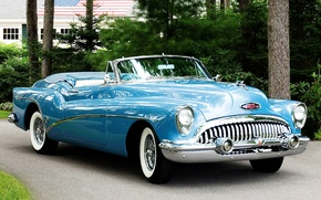 Picture retro, lights, grille, yard, convertible