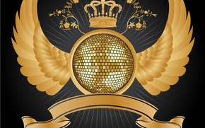 Picture wings, disco, heraldry, globe