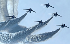 Picture group, flight, Blue Impulse, Kawasaki T-4