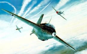 Picture war, art, painting, aviation, ww2, Me 163 Komet, P 51 mustang