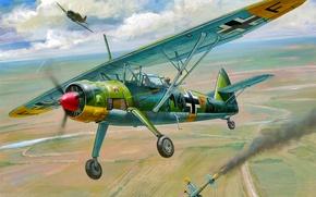 Picture war, art, airplane, painting, aviation, Henschel Hs 126B