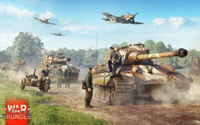 Picture Art, Bf-109, Tiger II, War Thunder, Video Game, Infantry, Tanks, Planes, Germans