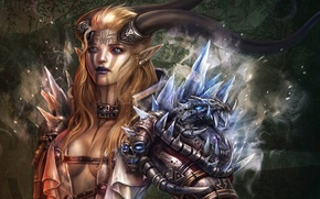 Picture glass, armor, women, warrior, fantasy art