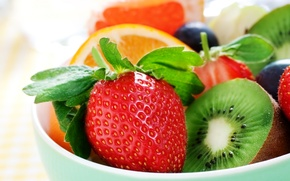 Wallpaper berries, orange, kiwi, strawberry, fruit, fruit, orange, strawberry, berries, kiwi