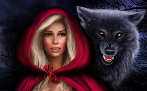 Picture girl, wolf, predator, little red riding hood, hood, Photoshop, Нelena