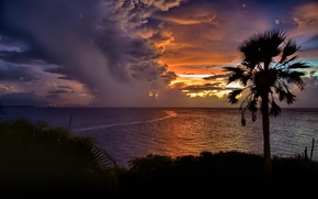 Picture sea, the sky, clouds, sunset, Palma, silhouette, Dominican Republic, Cabarete