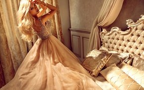 Picture girl, room, bed, pillow, makeup, dress, hairstyle, blonde, outfit, beautiful, curtains