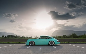 Picture The sun, The sky, Clouds, Field, Mountains, 911, Porsche, Forest, Landscape, Parking, Side, Carrera 2, …
