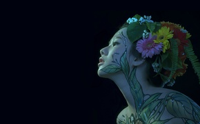 Picture girl, portrait, Asian, body art, body painting, hani nguyen