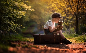 Picture nature, mood, toy, boy, cap, suitcase, Teddy bear