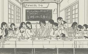 Picture table, figure, Windows, sketch, characters, parody, class, Schoolgirls, the last supper, Sayonara Zetsubou Sensei, sailor, …
