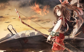 Picture the sky, girl, clouds, weapons, magic, anime, bow, art, aircraft, arrows, kantai collection, zuihou, boyogo
