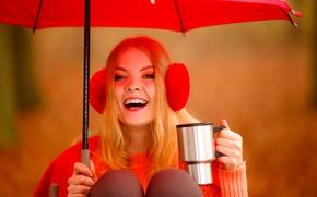 Wallpaper mug, background, blonde, umbrella, headphones, bokeh, mood, girl, sweater, in red, joy