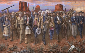 Wallpaper weapons, people, desert, Americans, The Indians, Wild West