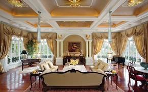 Picture house, table, Windows, picture, chairs, columns, curtains, sofas, living room, classic.