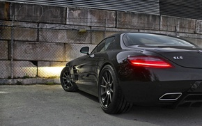 Picture reflection, black, black, Mercedes benz, sls amg, back, headlights, SLS, Mercedes Benz, AMB