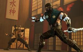 Picture Scorpion, Sub-Zero, Mortal Kombat X, sparring