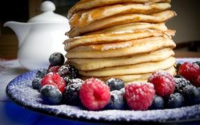 Picture berries, raspberry, blueberries, pancakes, cakes, berries, breakfast, pancakes