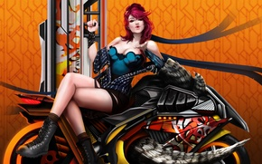 Picture chest, fiction, feet, body, art, lips, motorcycle, bike
