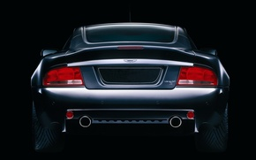 Wallpaper Black, Aston-Martin, Background, The rear