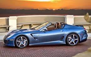 Picture sunset, blue, Ferrari, convertible, Ferrari, blue, sundown, cabrio, pininfarina, Superamerica 45
